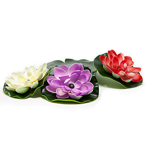 Beckett Corporation SL3 Solar Lily Pad LED Floating Lights for Pond or Water Garden, Multi-Color