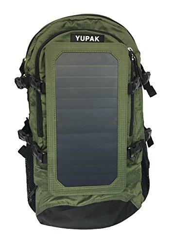 YUPAK Solar Powered Backpack with 7Watts Solar Panel & 10000 mAh Power Bank (Green)