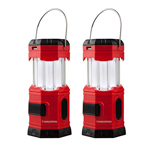 TANSOREN 2 Pack Portable LED Camping Lantern Solar USB Rechargeable or 3 AA Power Supply , Built-in...