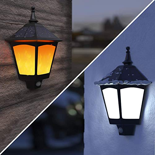 Solar Lights Outdoor Decorative - ALOVECO 2 in 1 Solar Wall Sconce, Solar Torch Lights with...
