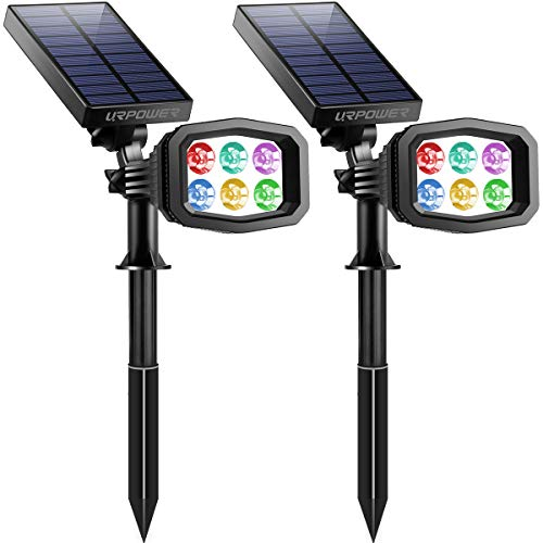 URPOWER Solar Lights Outdoor, Upgraded 6 LED 2-in-1 Waterproof Solar Spotlights 2 Modes Auto On/Off...