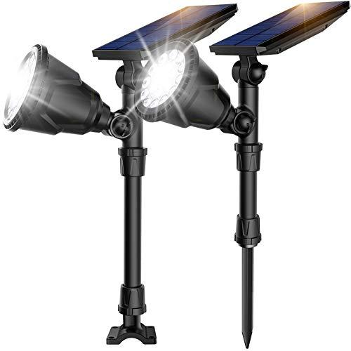 2Pack 18 LED Solar Spot Lights Outdoor, IP65 Waterproof Landscape Spotlight Flood Lamps for Garden...