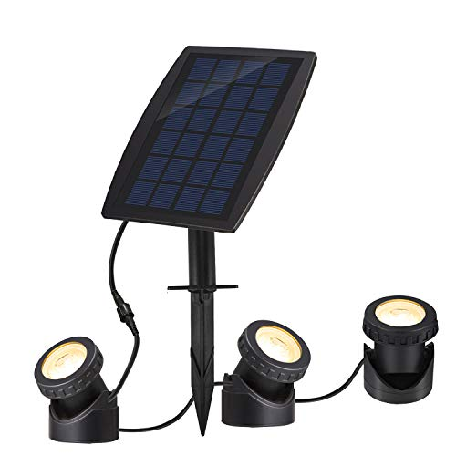 SUNLONG Solar Pond Spotlights IP68 with Bright 18 LEDs by 3 Lamps Angle Adjustable Landscape...