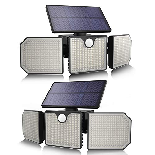 Solar Flood Lights Outdoor 3 Adjustable Head LED Solar Motion Sensor Light 270° Wide Angle...