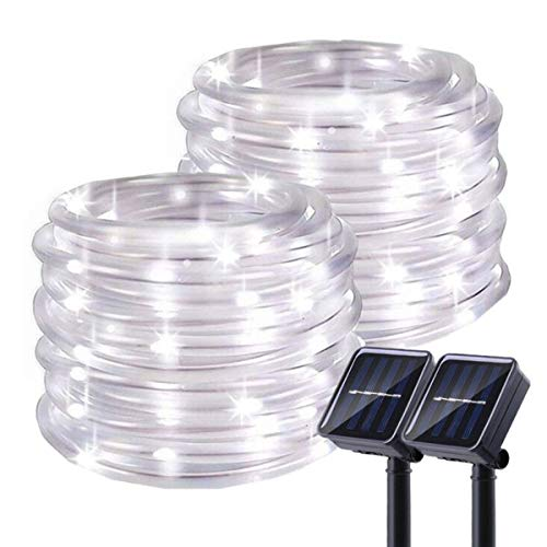 Chinety Solar Rope Lights Outdoor, 2 Pack 100 LED Solar Rope Lights 8 Modes Silver Wire Fairy Lights...