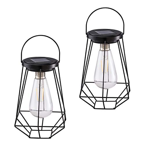 Outdoor Solar Lanterns Lamps - 2 Pack Tabletop Filament LED Edison Bulbs Hanging Solar Powered...