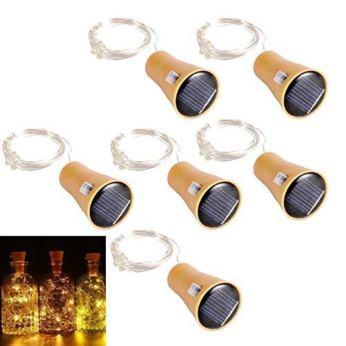 ALED LIGHT 6 Pack LED Solar Wine Bottle Lights 1 Metre 10 Lights Cork Shaped Light Copper Wire...