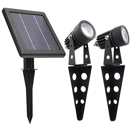 Mini 50X Twin Solar-Powered Cast Aluminium Warm White LED Spotlight 60-100 Lumen Per Light Fixture...
