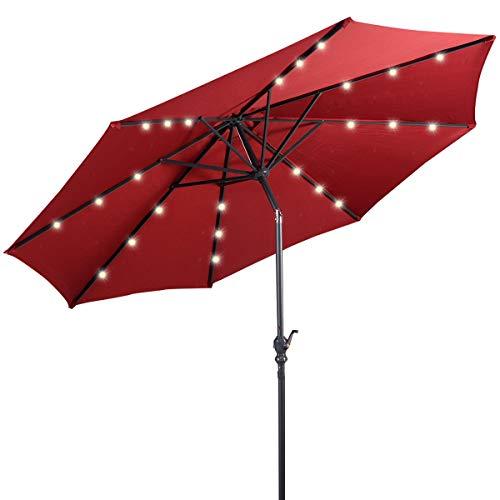 Giantex 10ft Solar Patio Umbrella Outdoor with Lights, 8 Ribs Steel Market Umbrella, Easy Push...