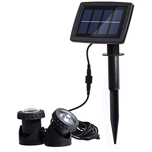 AVEKI Solar Pond Spotlights, 12 LED Solar Underwater Lights with Dual Head Waterproof Submarine...