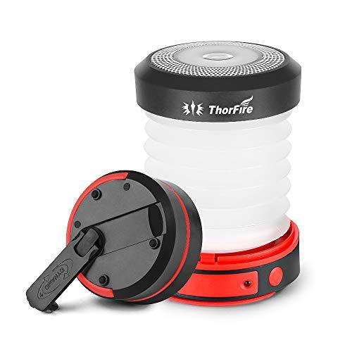 Thorfire LED Camping Lantern Lights Hand Crank USB Recgargeable Lanterns Collapsible Mini Flashlight...
