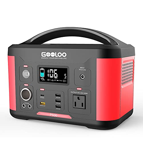 GOOLOO 600W Portable Power Station, 626Wh Solar Generator with 110V AC Outlet,Type-C 60W PD Port,QC...