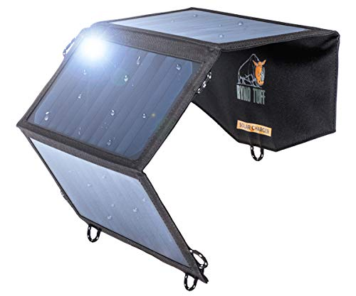Ryno-Tuff Portable Solar Charger for Camping - 21W Foldable Solar Panel Charger 2 USB Ports -...