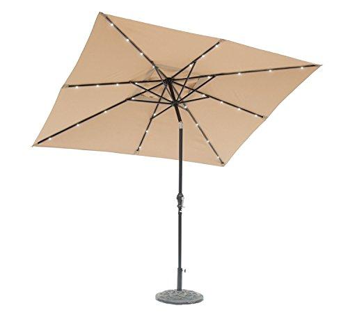 EdenBranch 9' x 7' Rectangular Solar Lighted Umbrella (Taupe) Super Bright LED, Aluminium Frame,...