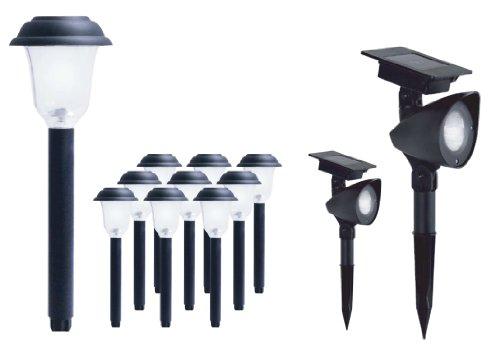 LED Solar Pathway & Spotlight Kit, Combo Pack = 10 Pathway Lights + 2 Spotlights, Pathway Lights,...