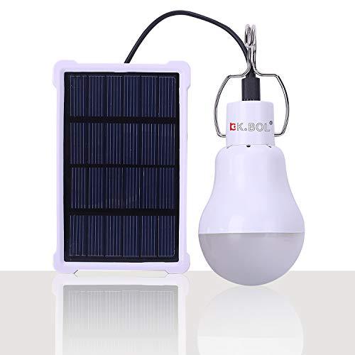 KK.BOL Solar Lamp Portable LED Light Bulb Solar Panel Powered Rechargeable Lantern Lights Lamps for...