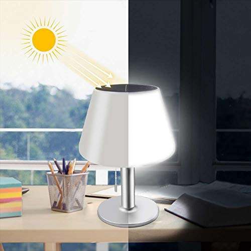 Table Lamp Led Solar Lights with Pull Chain Switch Indoor Outdoor Dimmable Rechargeable Night Light...