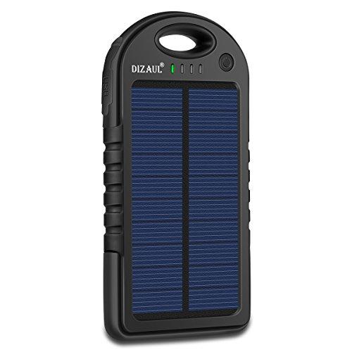 Dizaul Solar Charger, 5000mAh Portable Solar Power Bank Waterproof/Shockproof/Dustproof Dual USB...