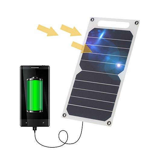 Lixada Solar Panel Charger USB Port Portable High Power Paper Shaped Monocrystalline Silicon for...