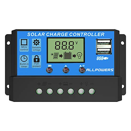 ALLPOWERS 20A Solar Charger Controller Solar Panel Battery Intelligent Regulator with USB Port...