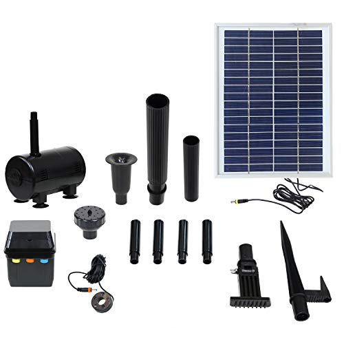 Sunnydaze Outdoor Solar Pump and Panel Fountain Kit with Battery Pack and LED Light, 132 GPH,...