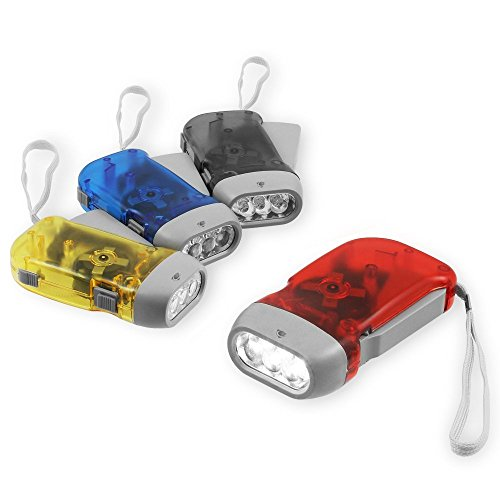(Chromo Inc) 4 Pack Hand Crank Flashlight - New