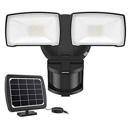 LEPOWER Solar Security Lights Motion Outdoor, 1000LM Solar Motion Sensor Light, 2 Head LED Flood...