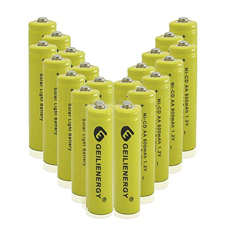 GEILIENERGY Solar Light AA Ni-CD 600mAh 1.2V Rechargeable Batteries AA Rechargeable Batteries for...