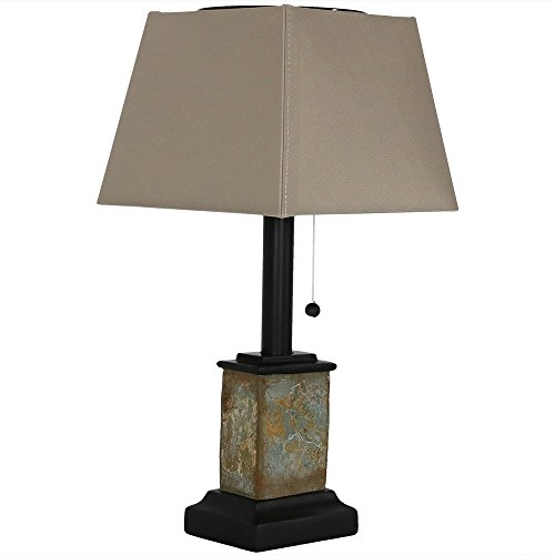 Sunnydaze Solar Table Lamp - 16-Inch Outdoor Night Light - Contemporary Square Slate - Weather...