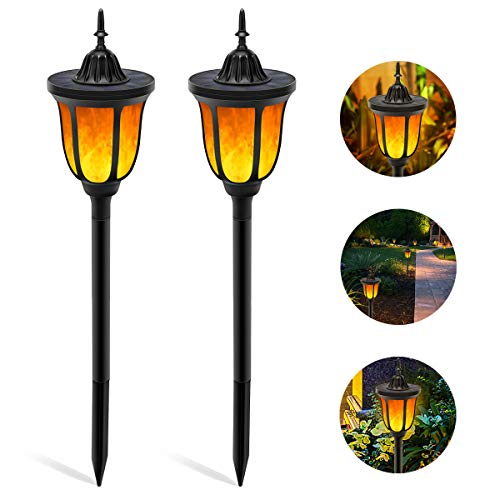 Solar Torch Light with Flickering Flame,ALOVECO 3-in-1 Solar Lights Outdoor Waterproof Solar Flame...