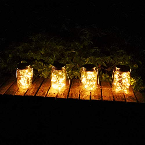Mason Jar Lights Solar Powered Fairy Lantern Lights Waterproof 20 Bulbs Decorative Hanging Jar...