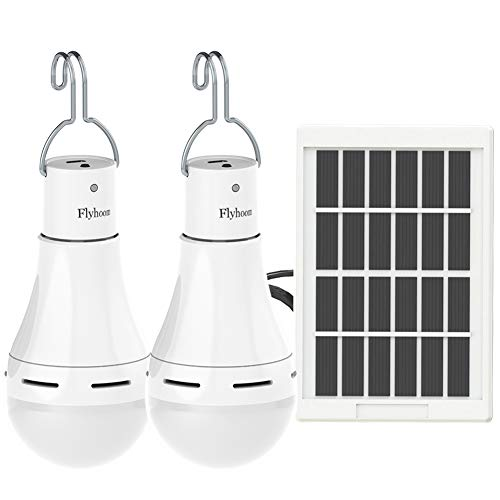 Flyhoom 2 Pack Portable Solar Bulb Light Outdoor Rechargeable Emergency Light Bulb (AC 400LM/ DC...