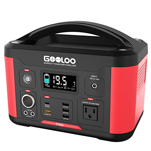 GOOLOO Portable Power Station Generator, 500W 520Wh Outdoors Solar Supply Backup Battery with AC...