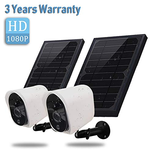 Wireless Rechargeable Battery Powered Security Camera with Solar Panel, 1080p HD Waterproof Outdoor...