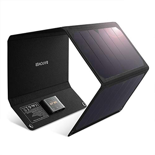 RAVPower Solar Charger 28W Solar Panel with 3 USB Port Waterproof Foldable Camping Travel Charger...