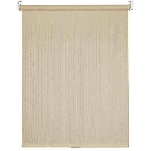 Cord-Free Easy Spring Action High-Density Polyethylene Exterior Roller Shade (72' X 72', Cream)