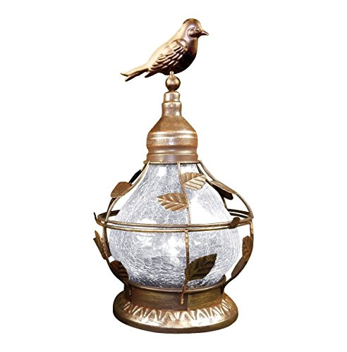 Solar Table Top Lamp, Bird Theme with Rotating Light, Crackled Glass - Bronze.