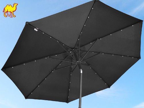 Strong Camel 9'New 40 LED Lights Patio Umbrella Garden Outdoor Sunshade Market -Black