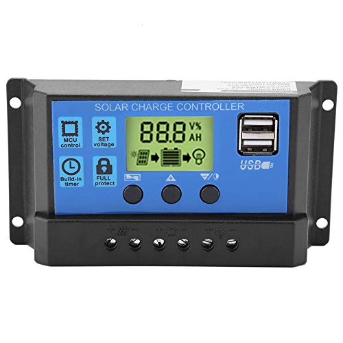 Solar Charge Controller, PWM 12V 24V 10/20/30A Dual USB Solar Panel Charge Controller Regulator LCD...