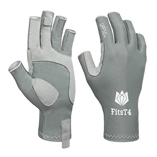 FitsT4 UV Fishing Fingerless Gloves UPF50+ Sun Protection Gloves Men Women for Kayaking, Hiking,...
