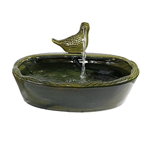 Sunnydaze Solar Powered Water Fountain - Green Glazed Ceramic Dove - Outdoor Patio and Backyard...