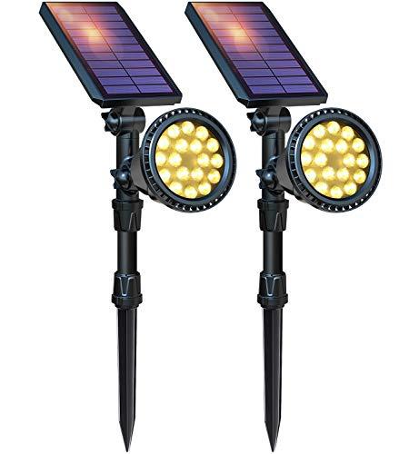DBF Solar Lights Outdoor, Upgraded 18 LED Waterproof Solar Spotlights Solar Landscape Lights...