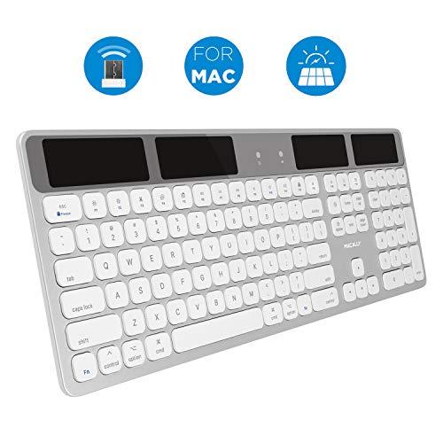 Macally Wireless Solar Keyboard for Mac - 2.4G RF USB Wireless Keyboard with Numeric Keypad & 21...