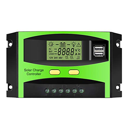 MOHOO Solar Charge Controller, 30A Solar Charger Controller, 12V/24V Solar Panel Intelligent...