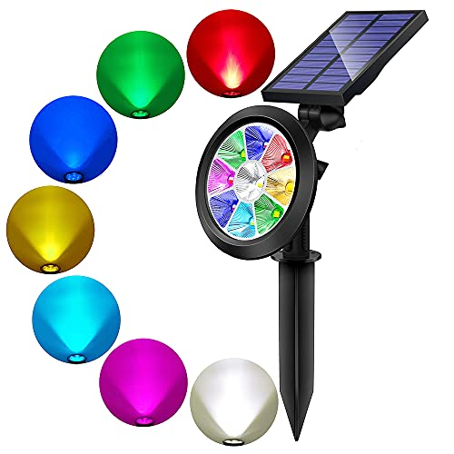 BOHON Solar Lights Outdoor - Ultra Bright, Waterproof, 9 LEDs Multi Color Spot Light with Auto...