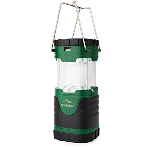 sunhiker Camping Light Solar Rechargeable Collapsible LED Camping Lantern Flashlight with Compass,...