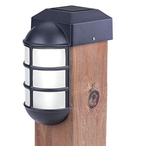 Sterno Home GL23877BK2 Solar LED Post Cap Light, 2-Pack, Black