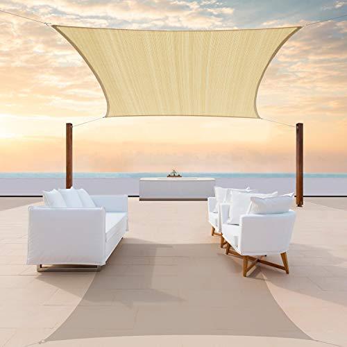 ColourTree 16' x 16' Beige Sun Shade Sails shade cloth Square Canopy – UV Resistant Heavy Duty...