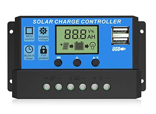 EEEKit 30A Solar Charge Controller, Solar Panel Charger Controller 12V/24V, Multi-Function...