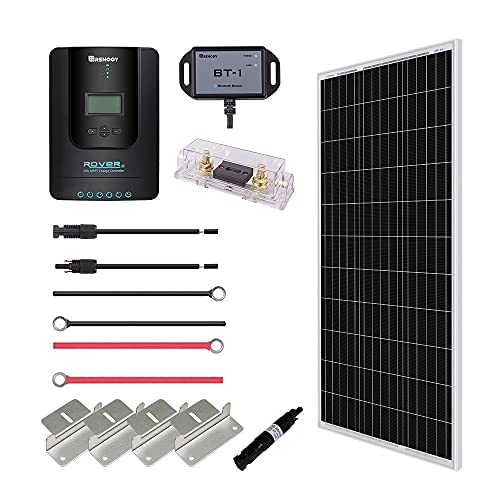 Renogy 100 Watt 12 Volt Off Grid Solar Premium Kit with Monocrystalline Solar Panel and 20A MPPT...